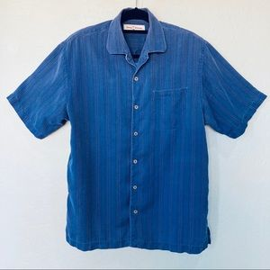 TOMMY BAHAMA Men's Silk Camp Shirt Cornflower Blue